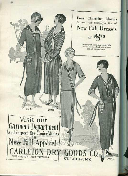 1920s drop waist dress fashions