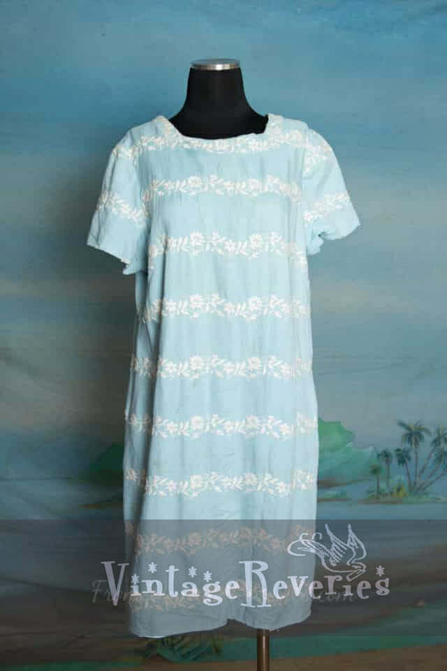 Large comfortable soft blue cotton and linen shift dress – perfect for hot summer nights