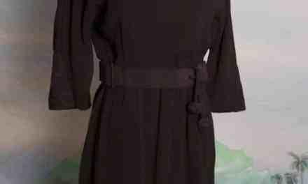 1960s Parnes Feinstein Black Dress with attached belt – small – medium