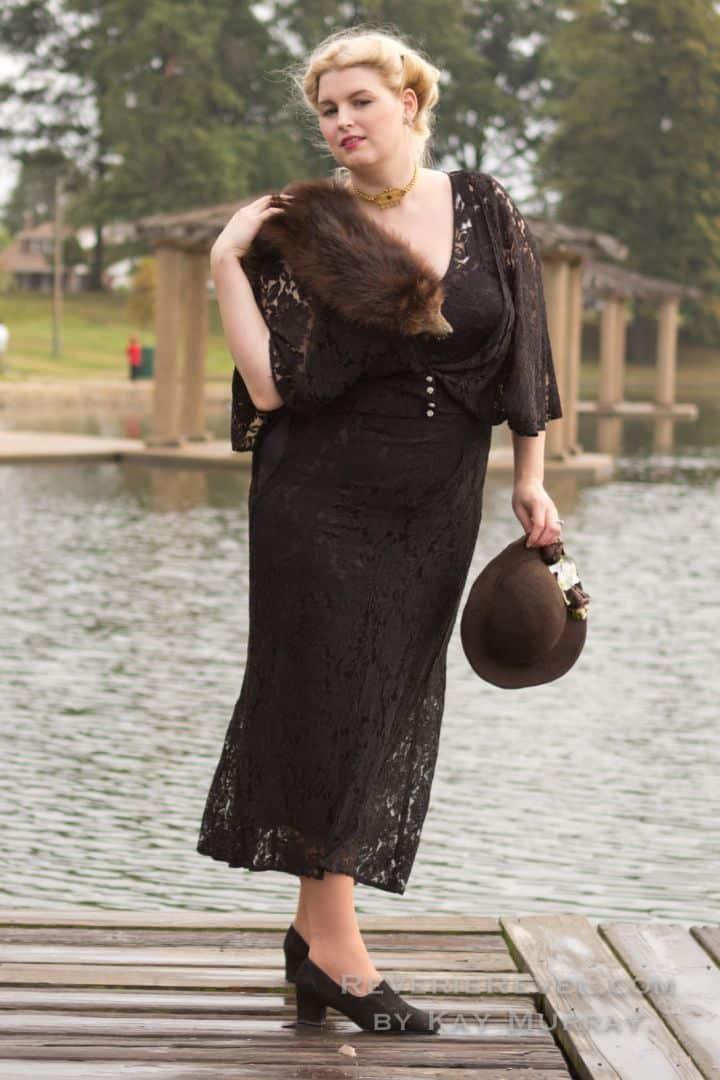 black lace dress on a BBW model