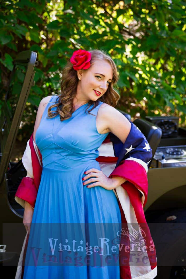 pinup model in a jeep