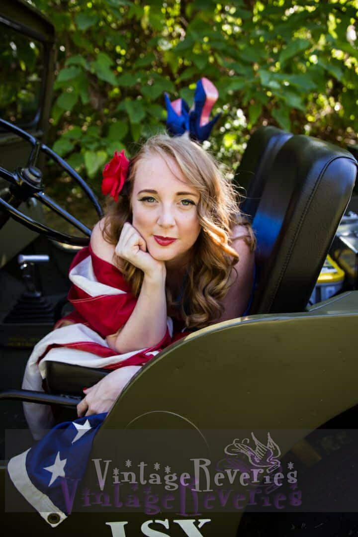 Patriotic Pinup with an American Flag and Willys Jeep
