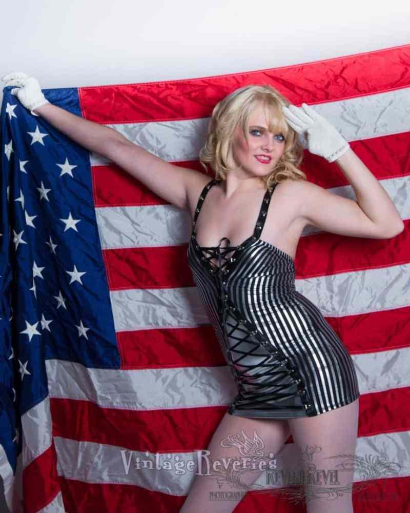 american flag pinup model