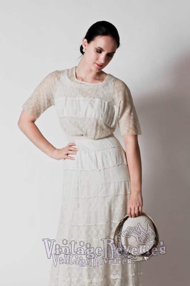 1910s lace dress on a model