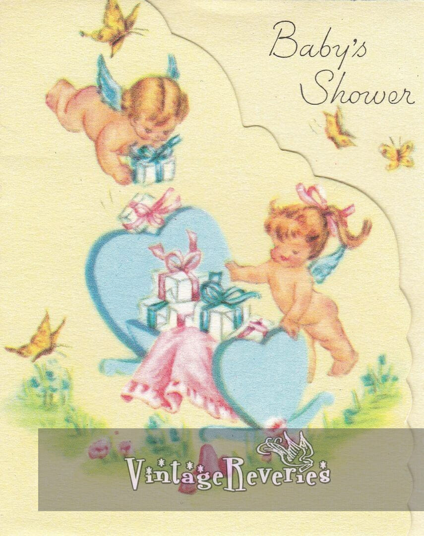 1960s baby shower card