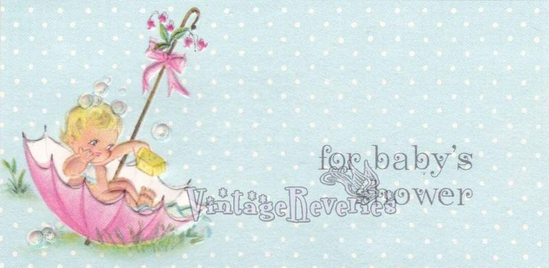 vintage baby shower card illustrations
