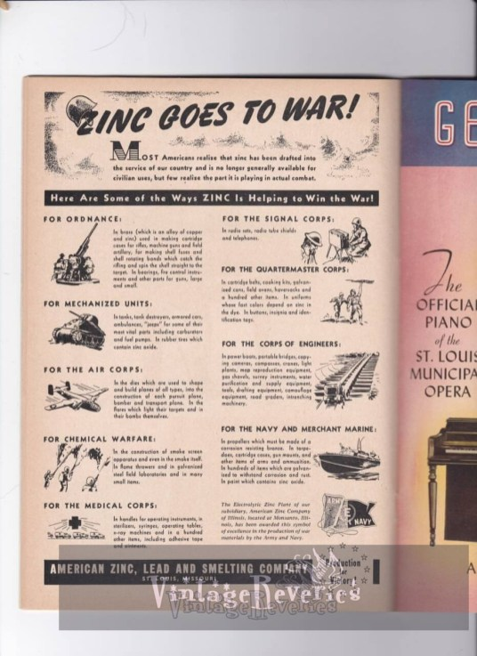 Uses of zinc in WWII