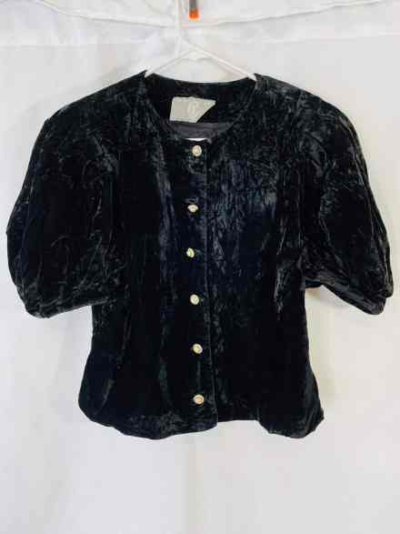 CI New York Paris vintage velvet button down shirt
