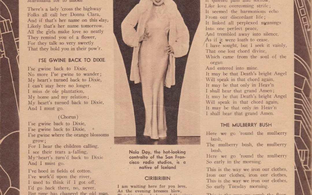Lyrics to 1930s songs