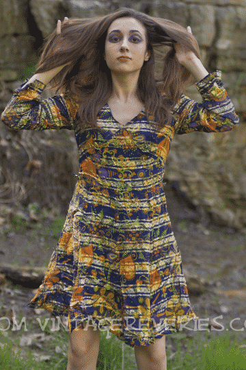 Nikki in vintage Arnel dress