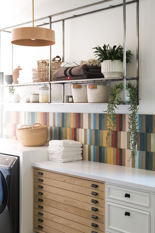 rainbow tile laundry room renovation