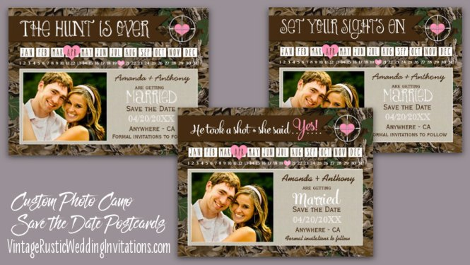 Wedding The Hunt Is Over Camo Save Date Postcards