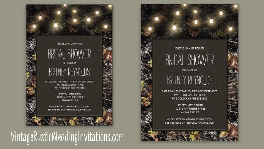Camo Bridal Shower Invitations Vintage Rustic Wedding