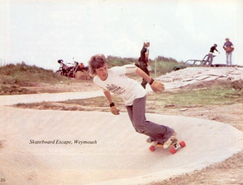Skateboard Escape Weymouth skatepark in 1977, from Successful Skateboarding Magazine 1977 with thanks to http://vintageskateboardmagazines.com