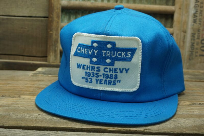 Vintage Chevy Trucks Wehrs Chevy 1935-1988 53 Years Chevrolet Patch Snapback Trucker Hat Cap K Products Made In USA