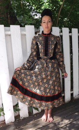 Gunne Sax Black Floral Dress