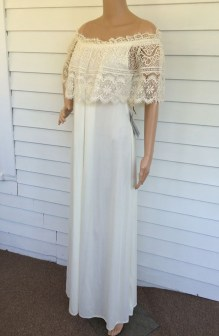 70s Ivory Grecian Maxi Dress with Lace Neckline