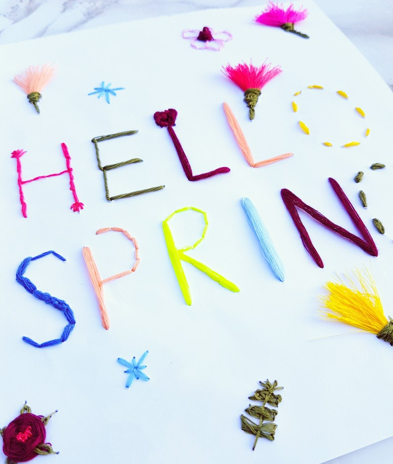 DIY: Embroidered Paper Hello Spring Stationary