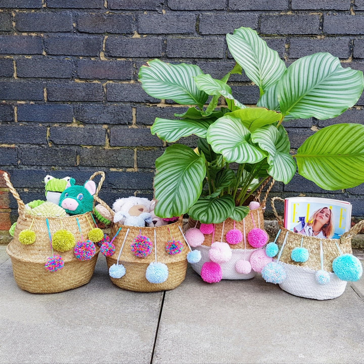 DIY Pom Pom Wicker Basket