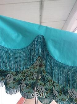 Excellent Vintage Vinyl Turquoise Flower Patio Umbrella