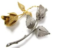 Attic and Barn Two rose bud brooches