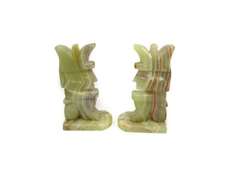 Onyx Aztec Mayan Statue Bookends