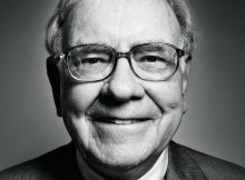 Warren Buffett Smiling Black & White