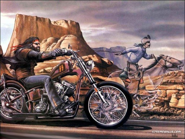 Harley Davidson Motorycles and Cowboy on Horse