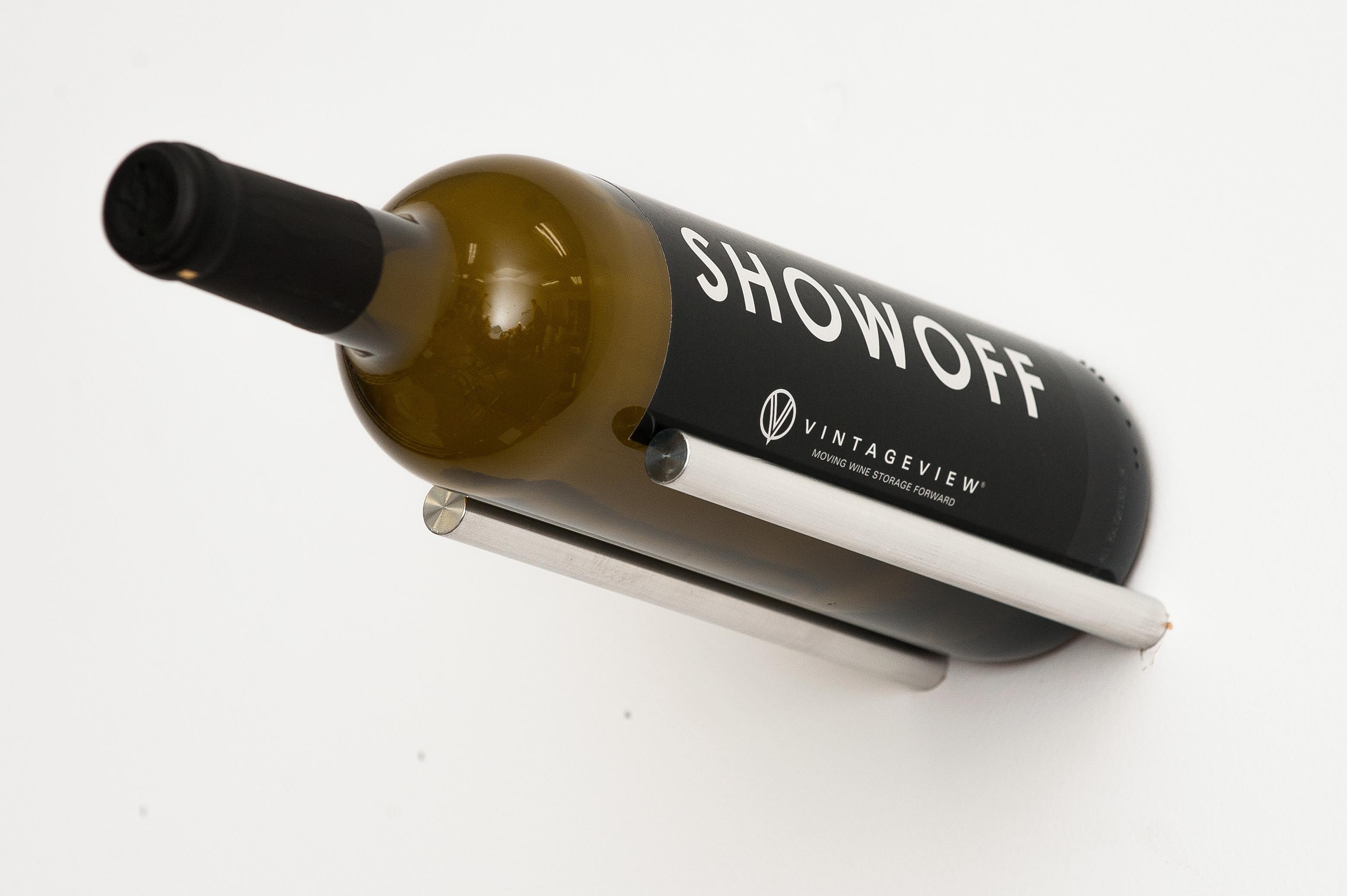 vino rails 1 bottle wall mounted metal wine rack peg cork forward