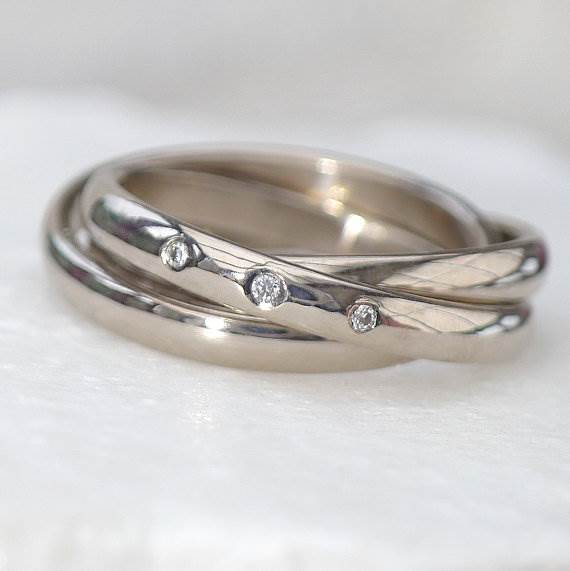 Russian Wedding Ring with Diamonds by LiliaNashJewellery