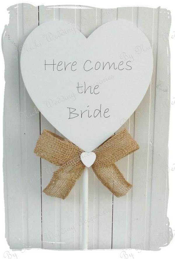 Rustic Wooden Heart 'Here Comes the Bride' Wand Sign via Bynicki