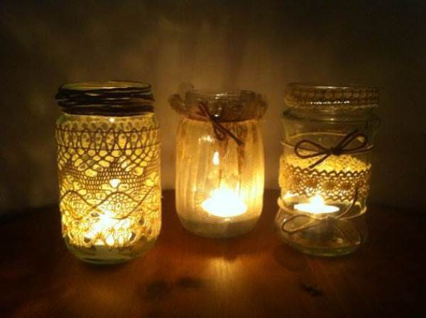 Etsy handmade crochet jar tealight candle holder via National Vintage Wedding Fair blog