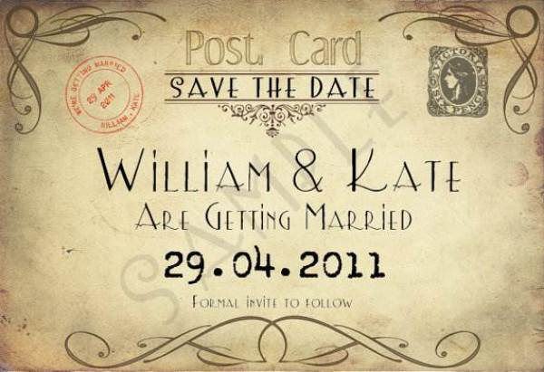 Etsy save the date cards - vintage postcard via National Vintage Wedding Fair blog