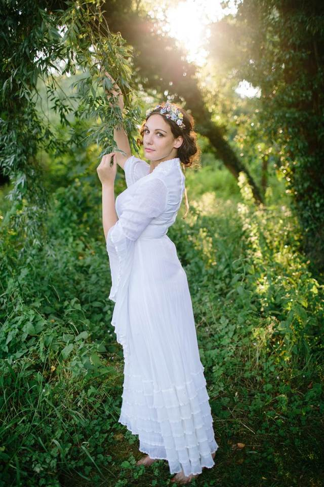 1970s Vintage Wedding Dress from Your Vintage Life at the National Vintage Wedding Fair, photo by Binky Nixon