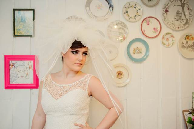 1980s inspired vintage wedding accessories veils courtesy of Kerrie Mitchell Photography at the National Vintage Wedding Fair