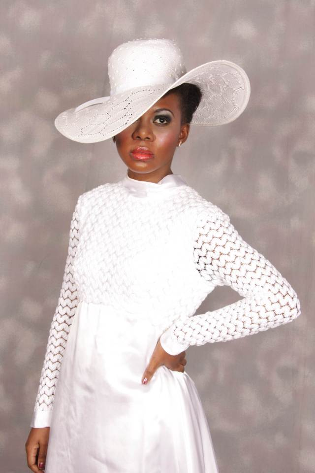 vintage wedding dress and hat from Bijou and Vintage at the National Vintage Wedding Fair