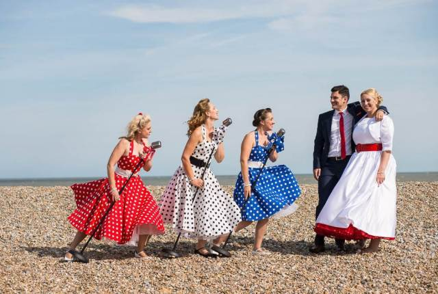 The Polka Dots perform at The National Vintage Wedding Fair Vintage Singers Musicians