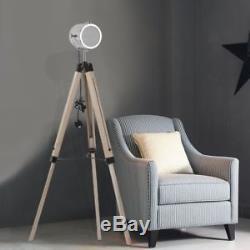 lampe vintage trepied en laiton projecteur en bois en bois trepied lampadaire salon uk sq