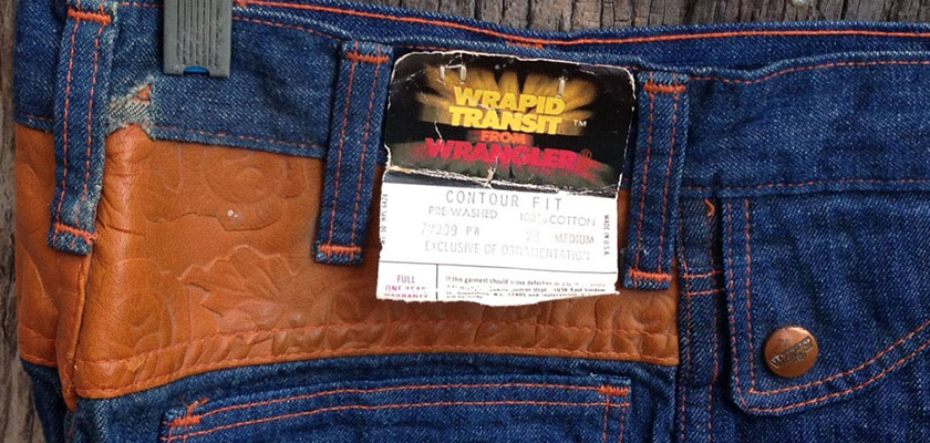 Wrangler Wrapid Transit Contour Fit 7M209 Leather 70s BIG Bell Bottom Jeans