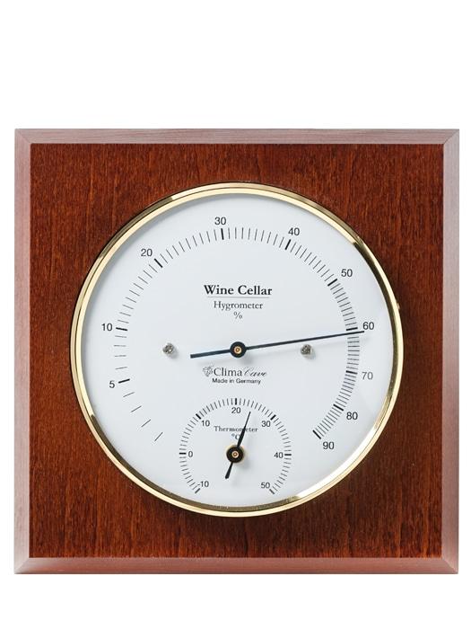 thermometre hygrometre socle de bois vinum