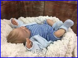 Reborn Baby Doll Painted Hair Joseph Silicone Feel Baby 17 Inches