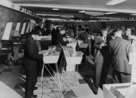 Shoppers at the HMV Record Store, Oxford Street, London in 1950s