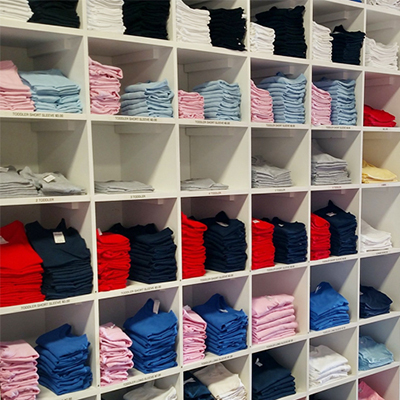 The Vinyl Room has numerous sizes and colors of kids' shirts that are ready for you to personalize.