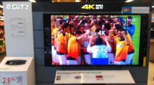 An example of a 4K television on sale in May 2013; they are real.