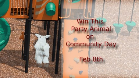 Party Animals dancing and singing bunny helps promote Community Day.