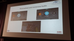 A screenshot of different audio profiles in a demonstration from Dolby Labs.