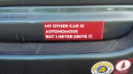 A bumper sticker showing the lighter side of Silicon Valley.
