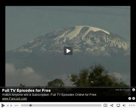 Example of an overlay ad, sold by Google, on Blip.TV