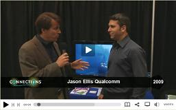 Jason Ellis of Qualcomm shows the new 4 radio WiFi chipset from Qualcomm