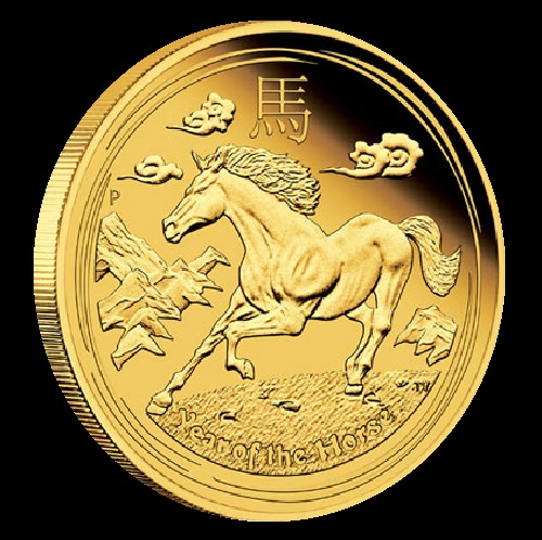 The Year of the Horse Gold Coins feature a depiction of a solitary horse galloping amidst a stylized scene of mountains and clouds